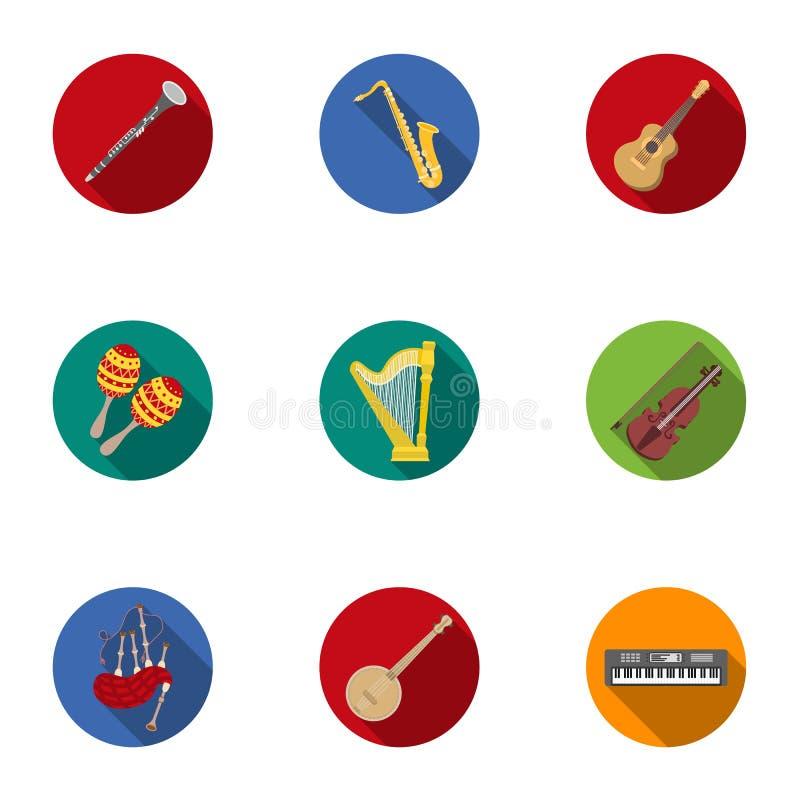 Musikinstrument ställde in symboler i plan stil Stor samling av illustrationen för materiel för musikinstrumentvektorsymbol stock illustrationer