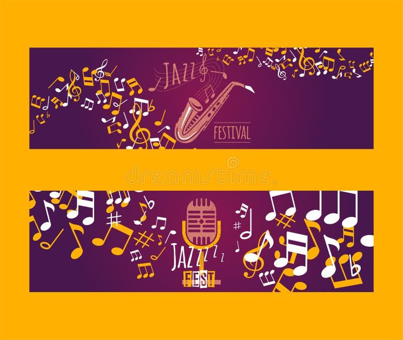 Musikinstrument st?llde in av banervektorillustration Musikbegreppet med saxofonen, mikrofon, noterar Spela vind vektor illustrationer