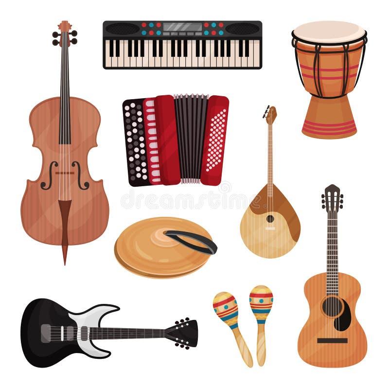 Musikinstrument uppsättning, violoncell, fiol, vals, cymbaler, dombra, maracas, gitarrer, dragspels- vektorillustration på a stock illustrationer