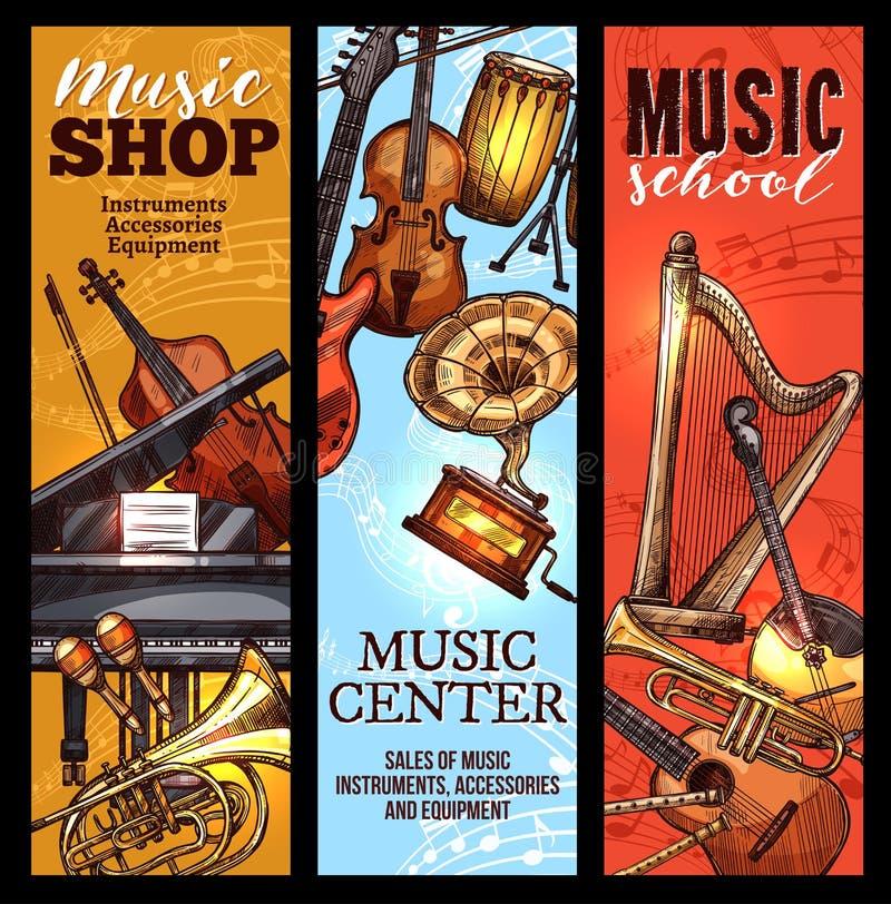 Musikinstrumentbaner av klassiskt, folkmusik royaltyfri illustrationer