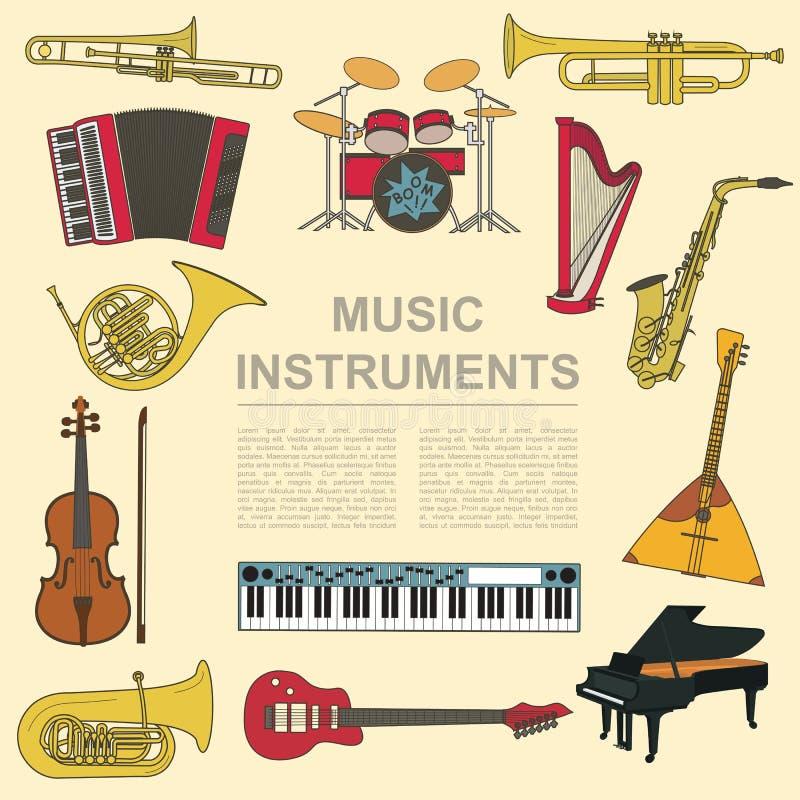 Musikinstrumentdiagrammall Alla typer av musikalisk instr vektor illustrationer