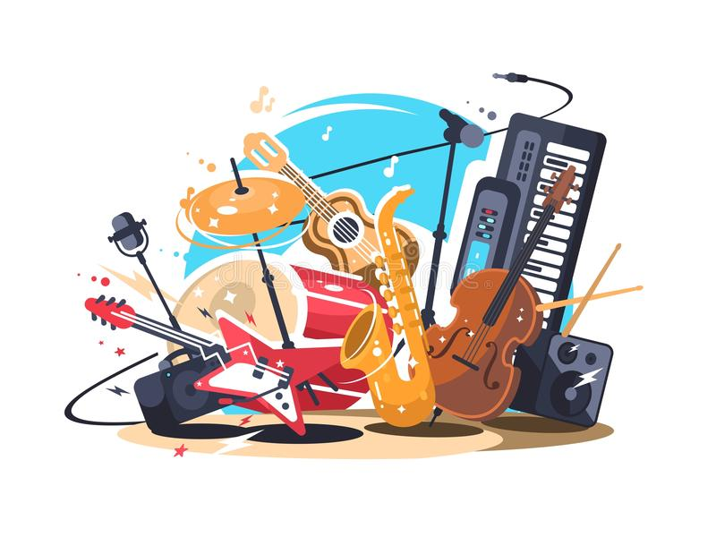 Musikinstrumente auf Stufe stock abbildung