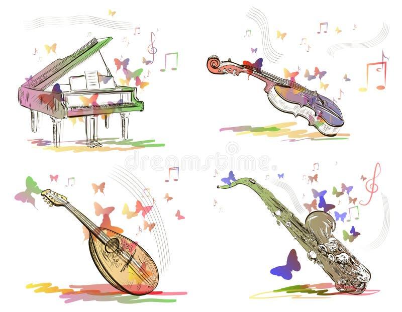 Musikinstrumente in der abstrakten Art vektor abbildung
