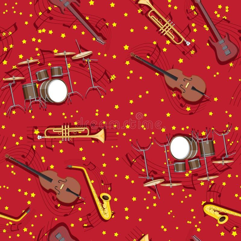 Musikinstrumente des abstrakten nahtlosen Musters trompeten Trommelsaxophongitarrenanmerkungen über den Hintergrund von Sternen vektor abbildung