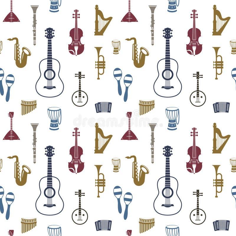Musikinstrumente des blauen Rotes Digital-Vektors lizenzfreie abbildung