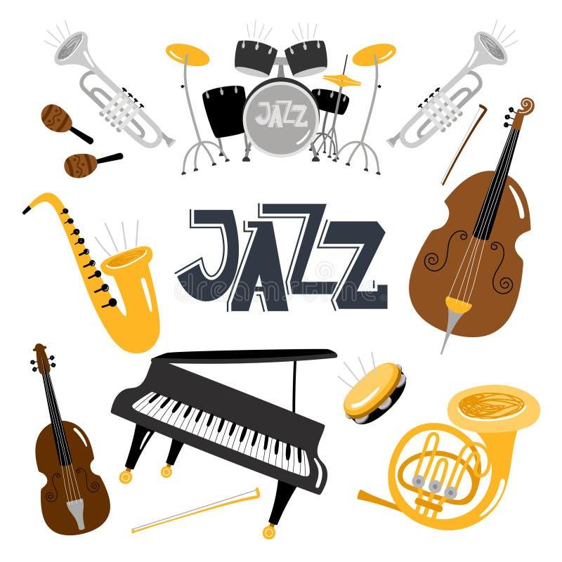 Musikinstrumente des Jazz Vektormusikinstrument-Gegenstandsammlung lokalisiert, Trommeln und Tuba, Weinlesemessing, akustisch vektor abbildung