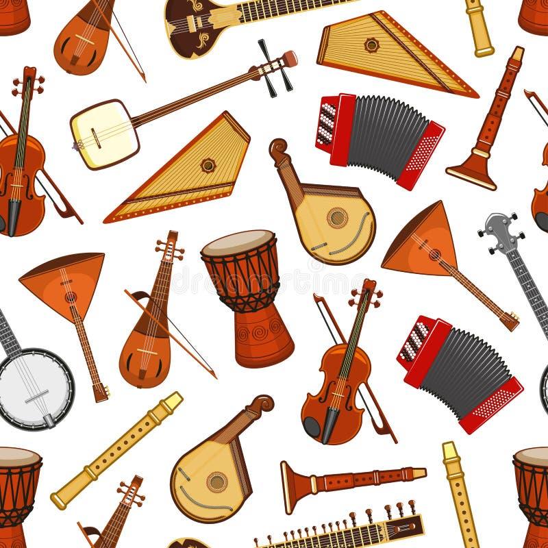 Musikinstrumente des nahtlosen Musters der Volksmusik lizenzfreie abbildung