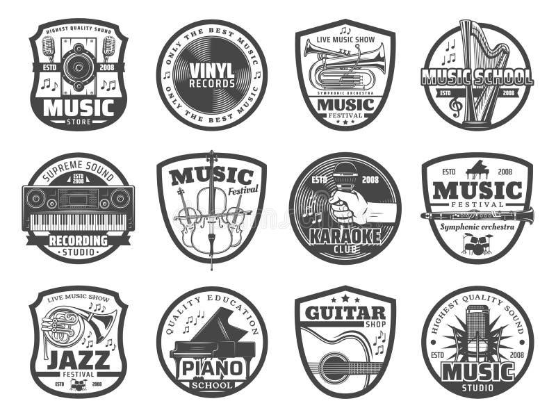 Musikinstrumente, Mikrophone, Vinylaufzeichnungen lizenzfreie abbildung
