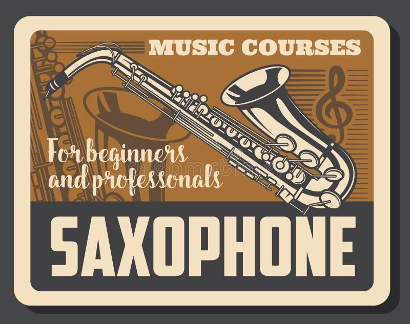 Musikinstrumente und Violinschlüssel des Saxophons lizenzfreie abbildung