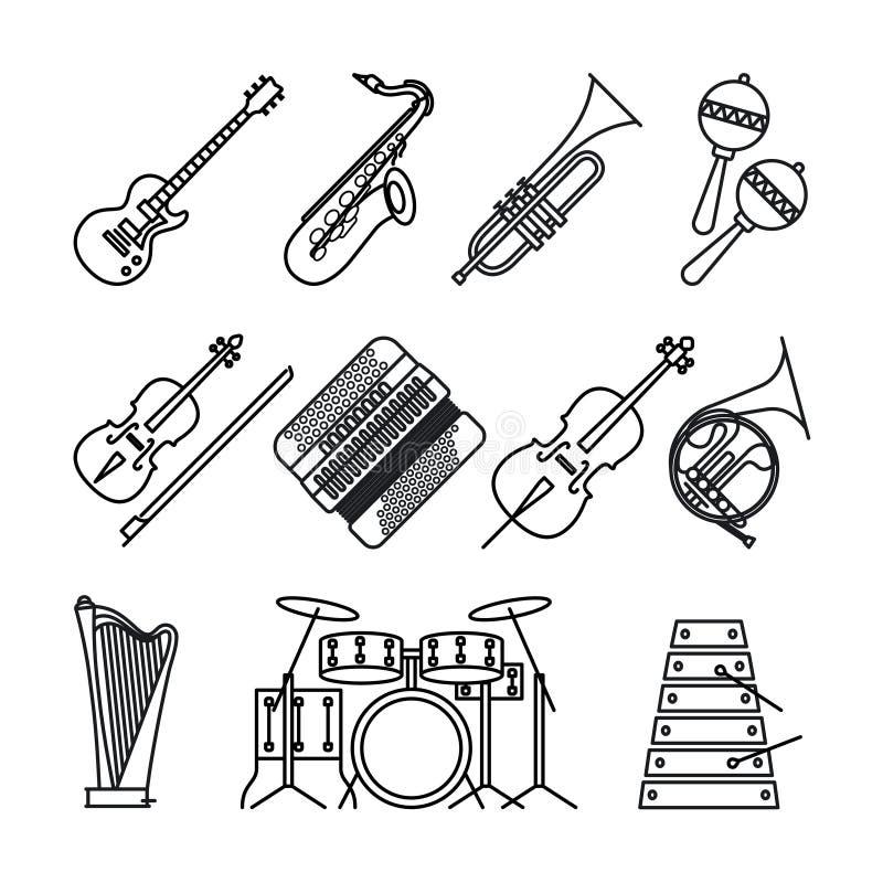 Musikinstrumente verdünnen Linie Ikonen stock abbildung