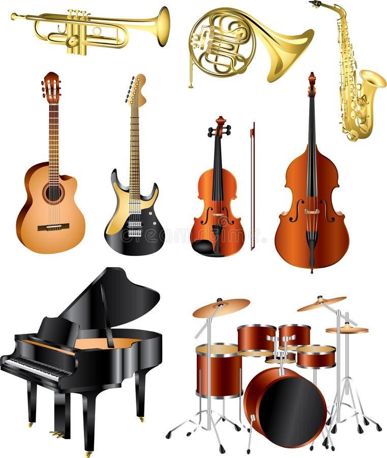 Musikinstrumentfoto-pealistic stock abbildung