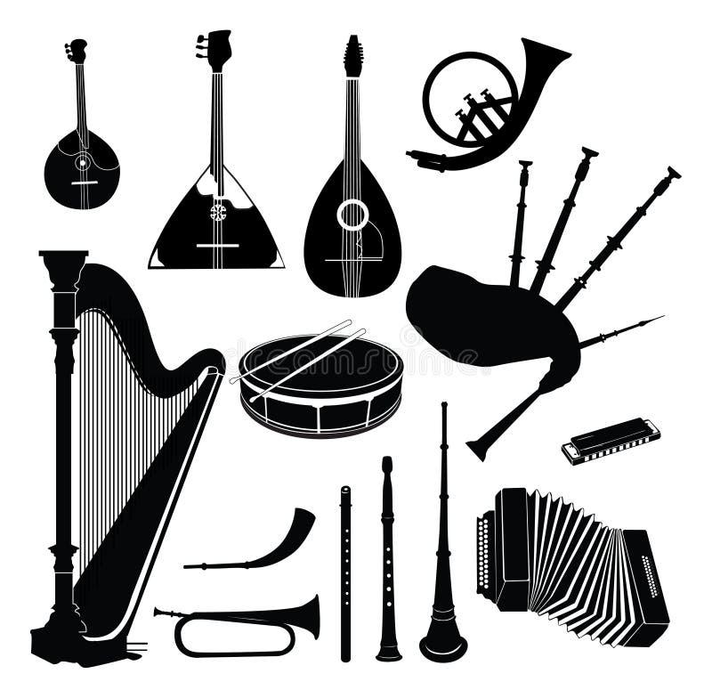 Musikinstrumentsammlung lizenzfreie abbildung