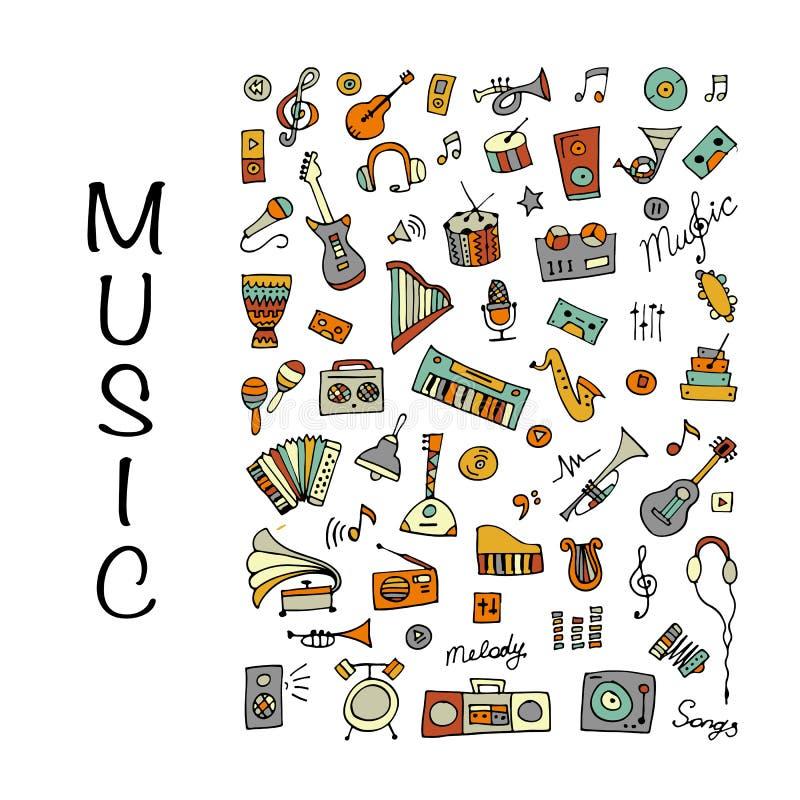 Musikinstrumentsatz, Skizze für Ihr Design lizenzfreie abbildung