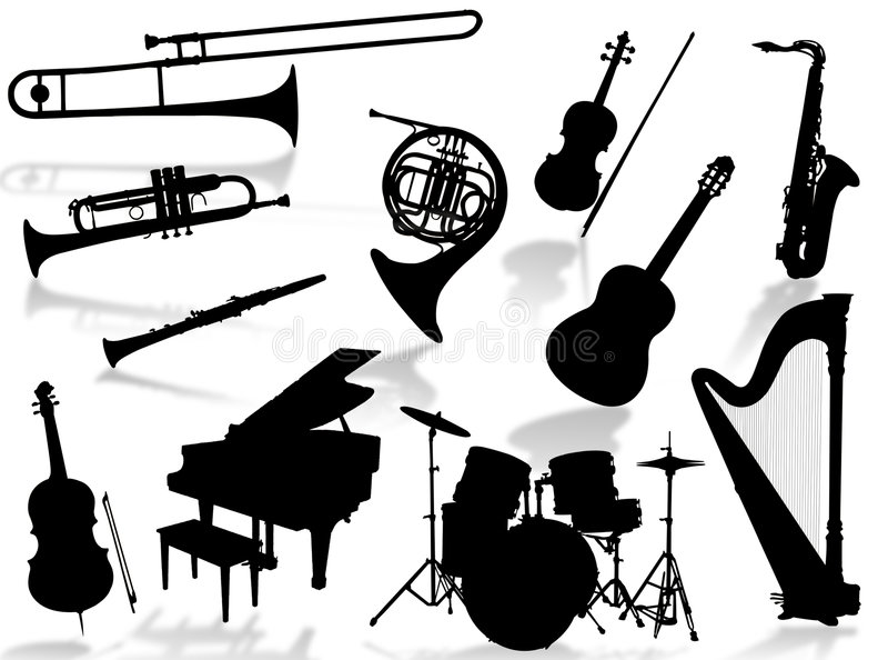Musikinstrumentschattenbild stock abbildung