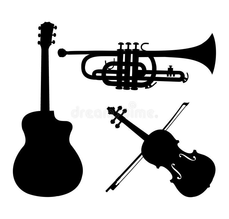 Musikinstrumentschattenbilder, -gitarre, -trompete und -violine Schwarze Schattenbilder auf weißem Hintergrund Gestaltungselement lizenzfreie abbildung