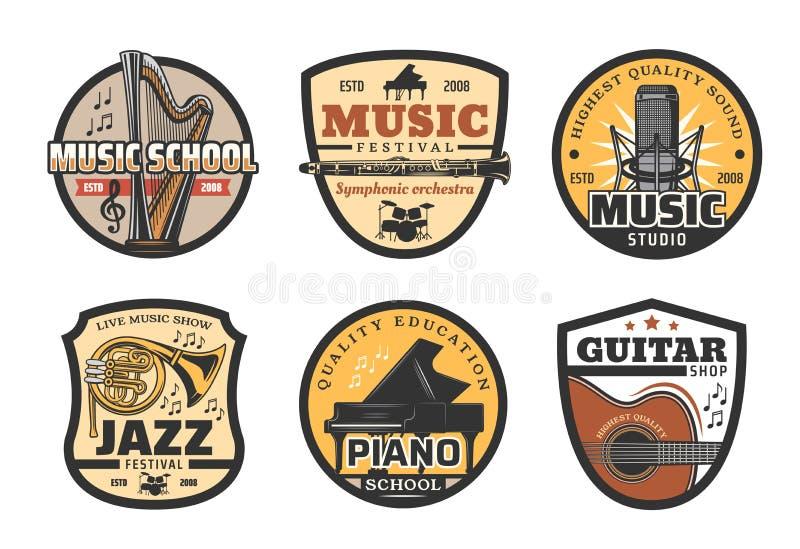 Musikinstrumentsymboler för rekord- studio för musik vektor illustrationer