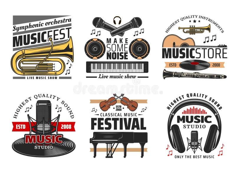 Musikinstrumentsymboler, konserter och festival royaltyfri illustrationer