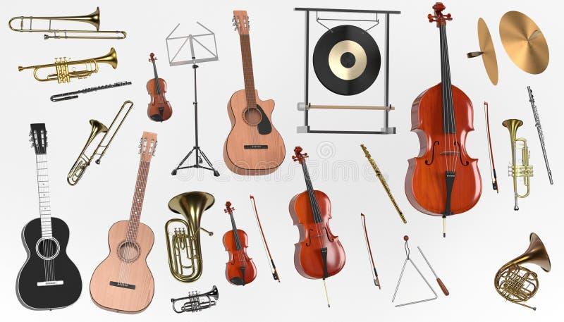 Musikinstrumentuppsättning stock illustrationer