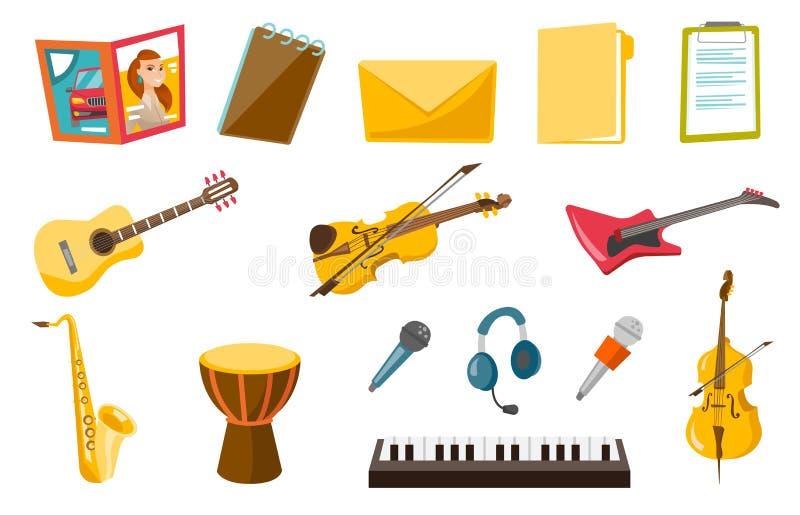 Musikinstrumentvektorillustrationen eingestellt vektor abbildung