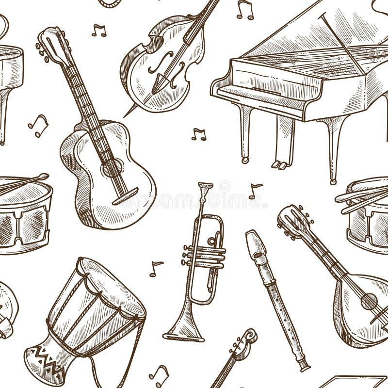 Musikinstrumentvektormusterhintergrund vektor abbildung