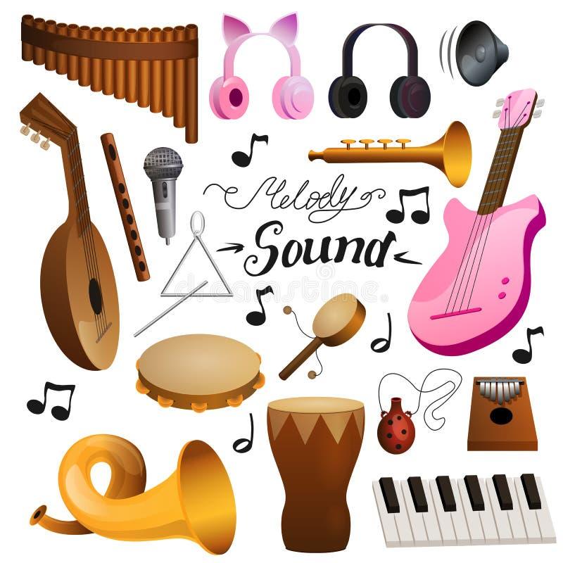 Musikinstrumentvektorsatz stock abbildung