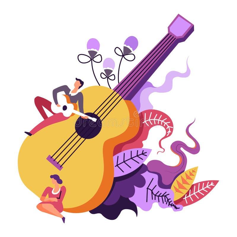 Musikkonsert, musikalisk kapacitet av gitarristen som spelar på den stora gitarren royaltyfri illustrationer
