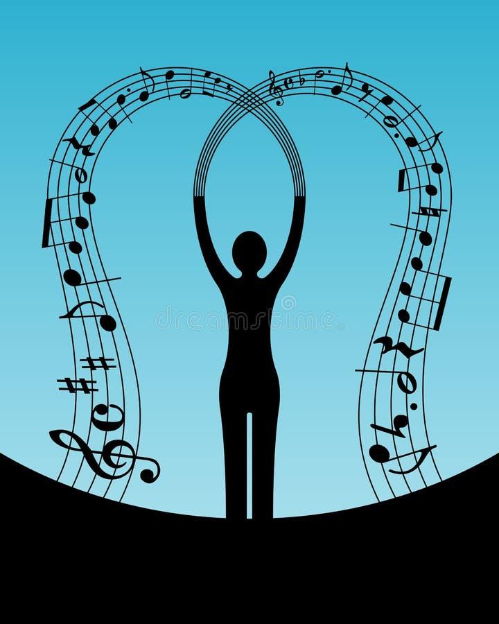 musikkvinna royaltyfri illustrationer