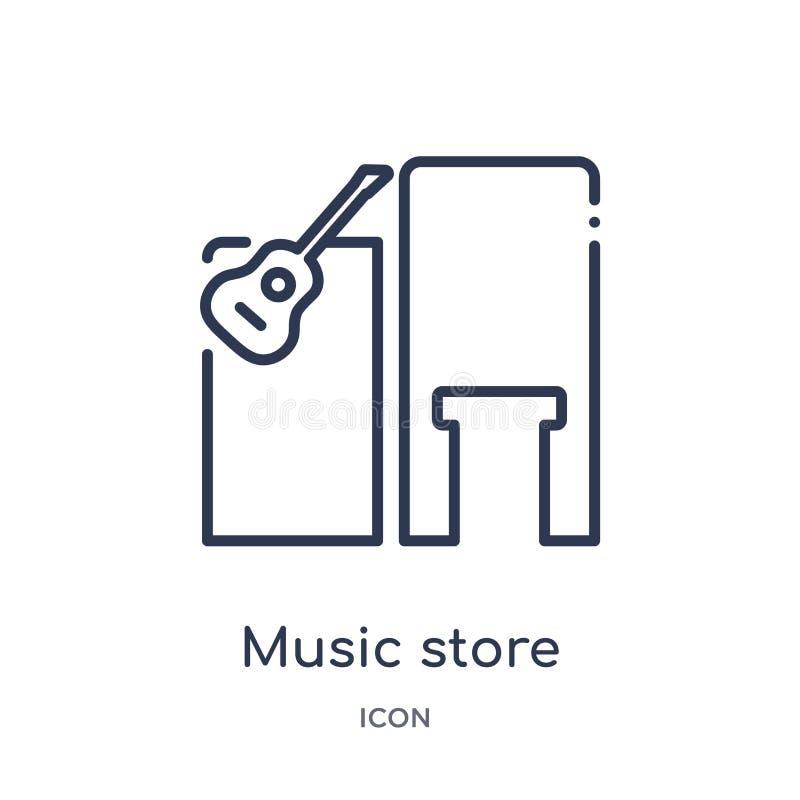 Musiklagersymbol från musiköversiktssamling Tunn linje musiklagersymbol som isoleras på vit bakgrund royaltyfri illustrationer