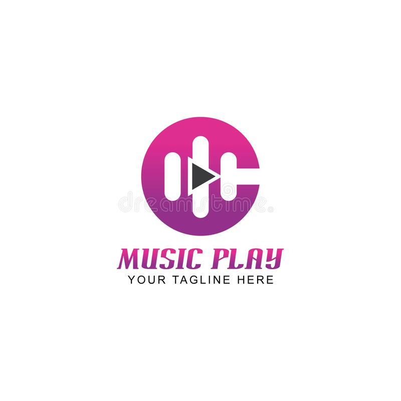 Musiklek Logo Vector Design för bokstav C stock illustrationer