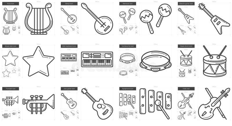 Musiklinje symbolsuppsättning vektor illustrationer