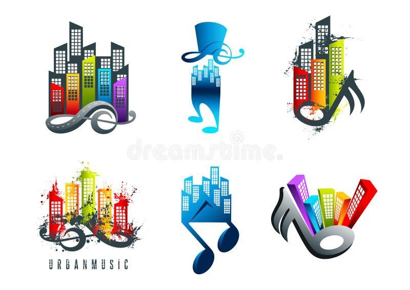 Musiklogo, solides Stadtsymbol und Grungelandhöhenmusik entwirft vektor abbildung