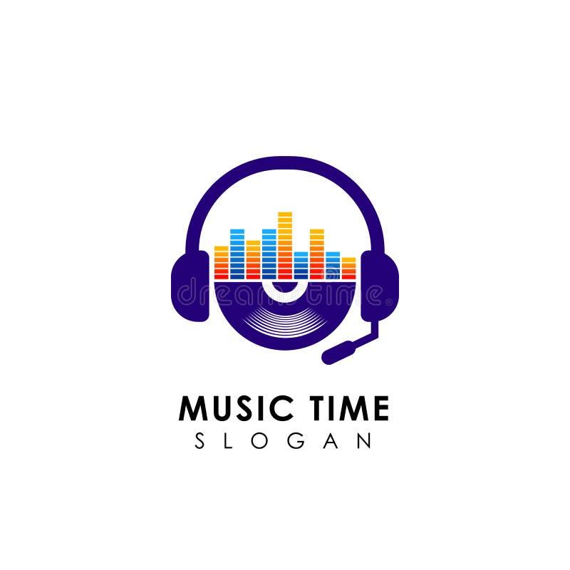 Musiklogodesign med headphone- och vinylillustrationen discjockey Logo Design royaltyfri illustrationer