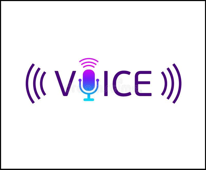 Musiklogotyp med text - stämma Mikrofontecknet vektor illustrationer