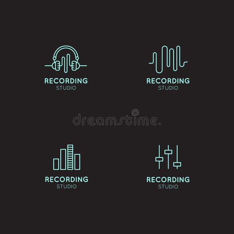 Musiklogouppsättning Etiketter för inspelningstudio Podcast- och radioemblem med prövkopiatext Planlägg med vågor, hörlurar och d stock illustrationer