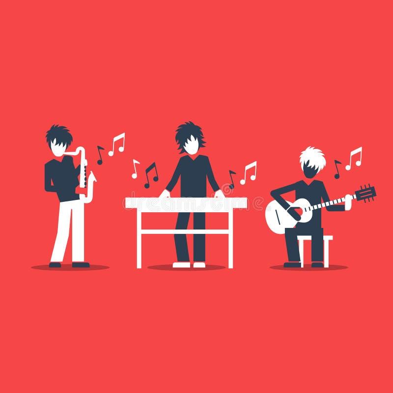 Musikmusikband som spelar levande konsert, saxofonen, tangentbordet och gitarristen royaltyfri illustrationer