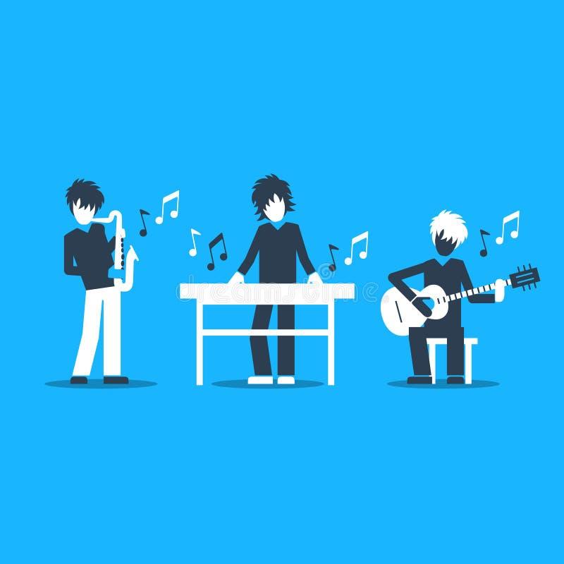 Musikmusikband som spelar levande konsert, saxofonen, tangentbordet och gitarristen stock illustrationer