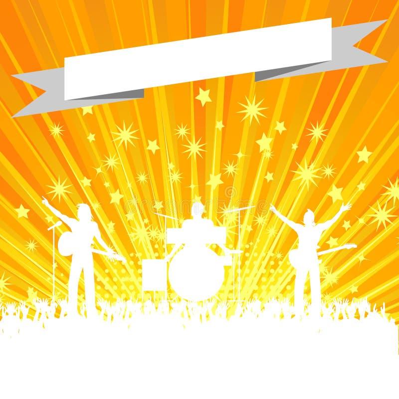 Musikmusikbandkontur med banret på stjärnabristning royaltyfri illustrationer