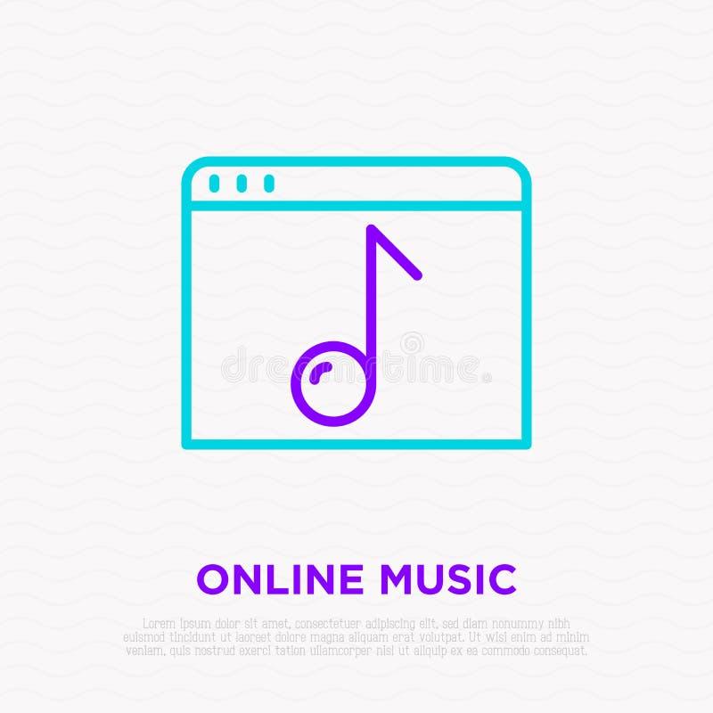 Musikonline-tunn linje symbol: webbsida med anmärkningen vektor illustrationer