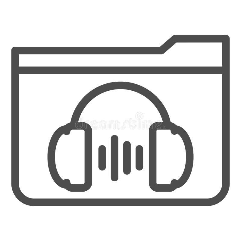 Musikordnerlinie Ikone r Ordner mit Kopfhörerentwurfs-Artentwurf stock abbildung
