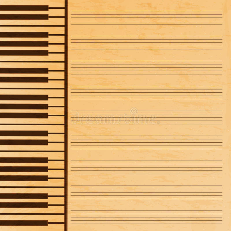 Musikpapper som dekoreras med tangenter vektor illustrationer