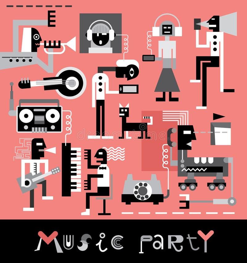 Musikparti royaltyfri illustrationer