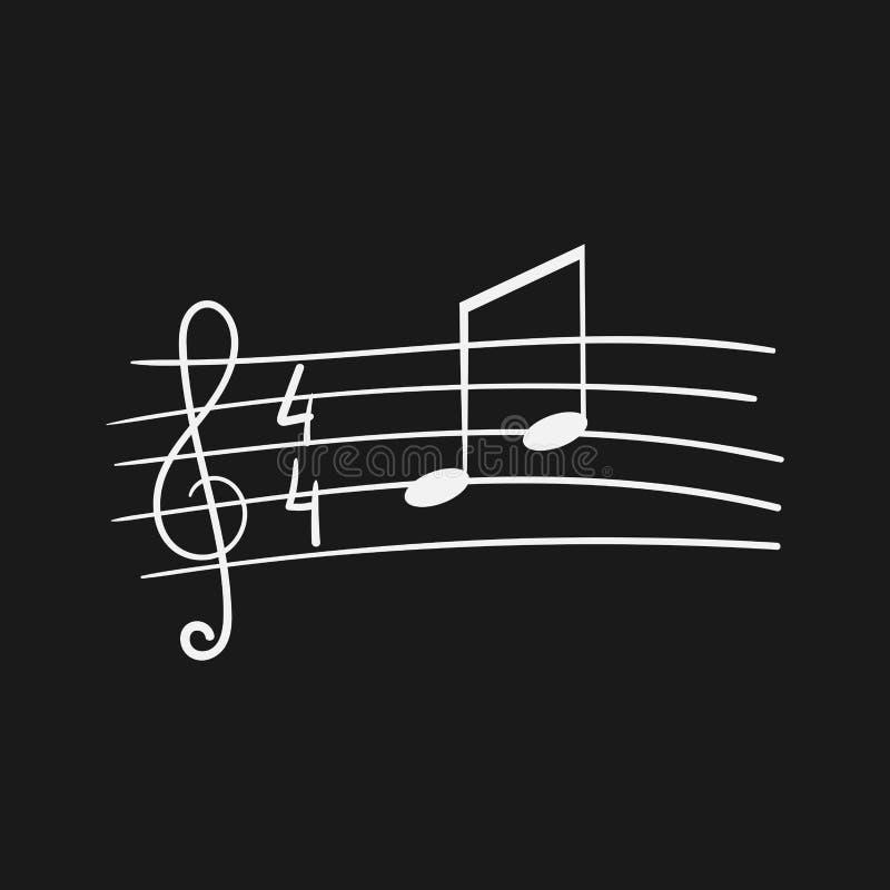 Musikpersonal, Violinschlüssel, Anmerkungen, handgemalt vektor abbildung