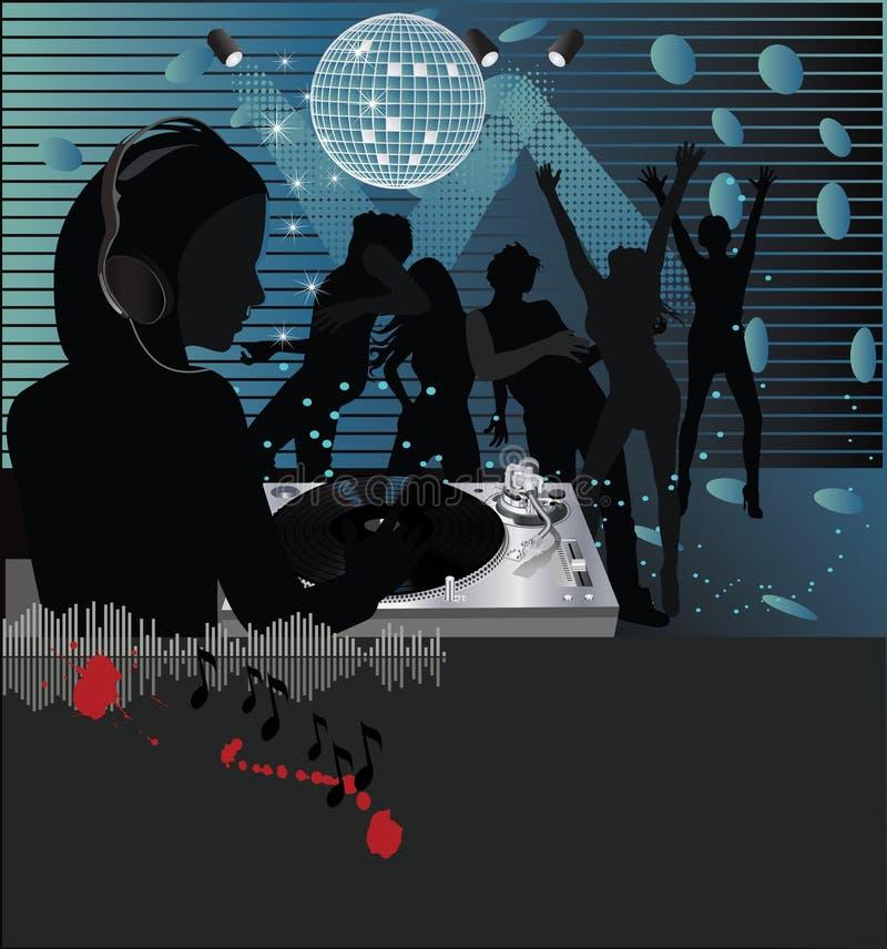 Musikplakat, DJ-Drehscheibe vektor abbildung
