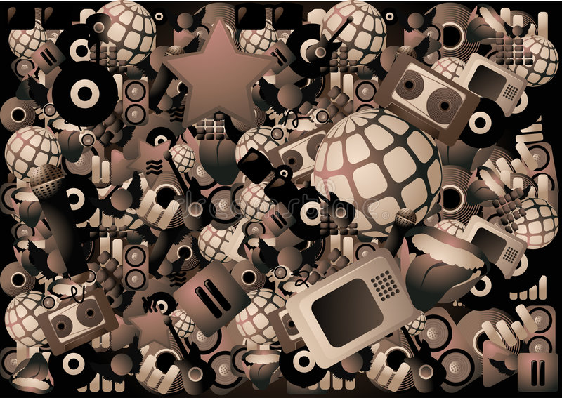 Musikplakat mit Hunderten Elementen stock abbildung