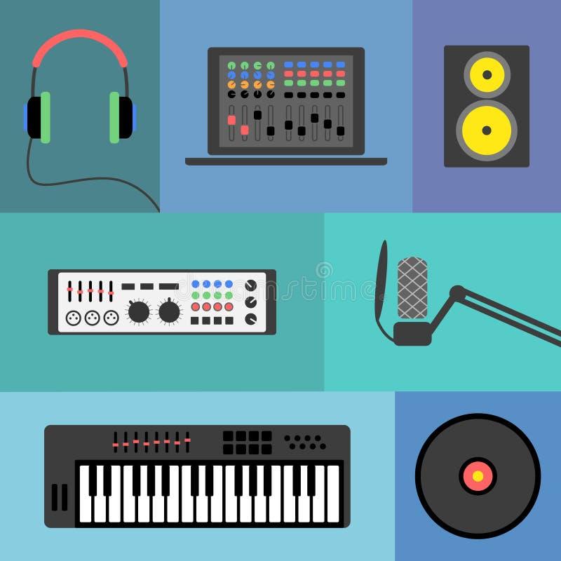 Musikproduktionsikonen stock abbildung
