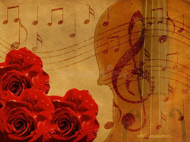 Musikrosen und Violinenhintergrund stock abbildung