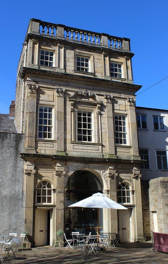 Musikrum med kafét, solgata, Lancaster. royaltyfri fotografi