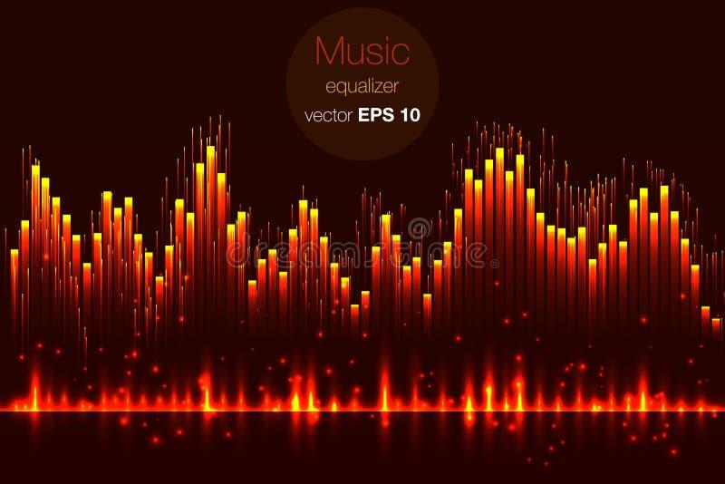 Musikschlagvektor Beleuchtet Hintergrund Abstrakter Entzerrer Schallwelle Audioentzerrertechnologie Ausführliches Vektor bokeh Ra vektor abbildung