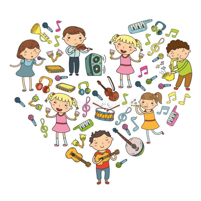 Musikskola för barn för ungevektorillustration som sjunger sånger som spelar symbolen för musikinstrumentdagisklotter stock illustrationer