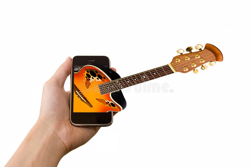 musiksmartphone royaltyfria bilder